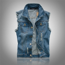 Denim Vest Men Sleeveless Jackets Washed Jeans colete masculino Waistcoat For Mens Fashion Tank Top Cowboy Male Vest Jacket стоимость