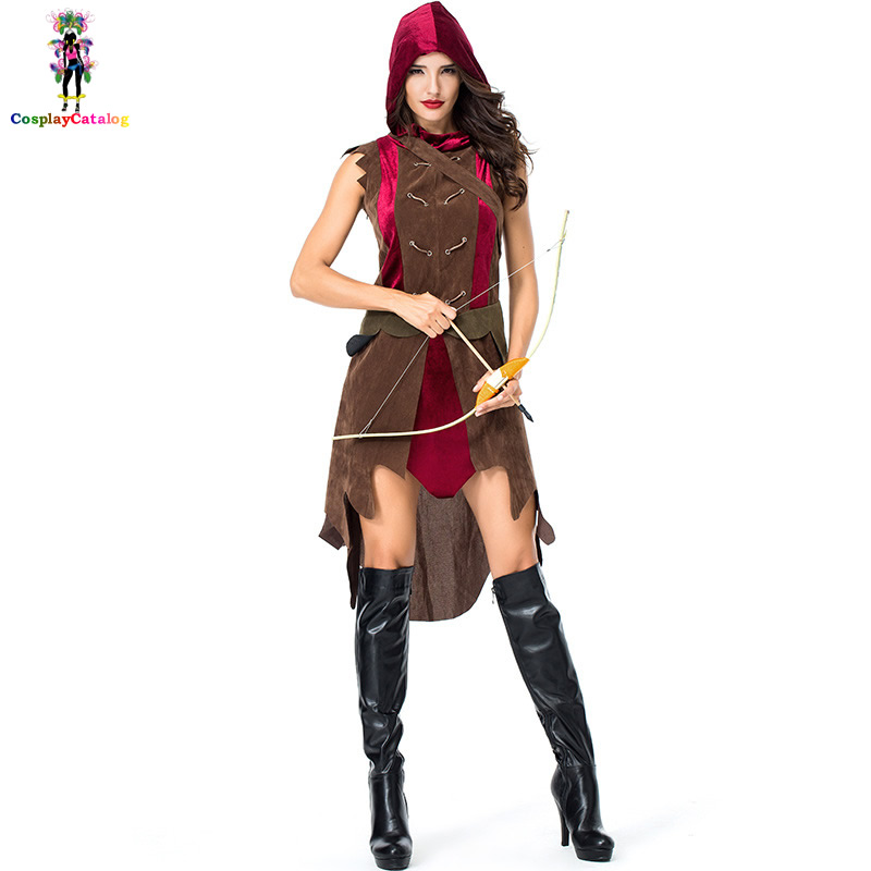 Halloween Adult Women Warrior Costume Archer Costumes Robin Hood Uniforms with Arrow Bag Woman Party Clothes