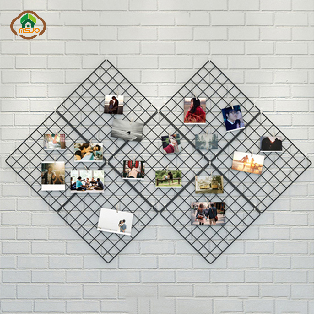 Msjo INS Hot Iron Metal Mesh Storage Rack DIY Grid Wall Foto Gambar - Organisasi dan penyimpanan di dalam rumah