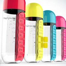 600 мл Спортивная бутылка для воды без бисфенола Тритан пластиковая гаррафа Удобная с ежедневной коробкой для таблеток органайзер для питья Тур поход чашка