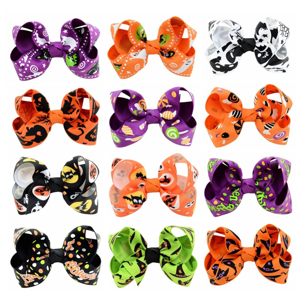c1b0b719d7ec8 אביזרי שיער - 12Pcs Lot Boutique Halloween Hair Bow with Clips for Kids Hair  Pumpkin Hair Bow Halloween Hair Accessories 751