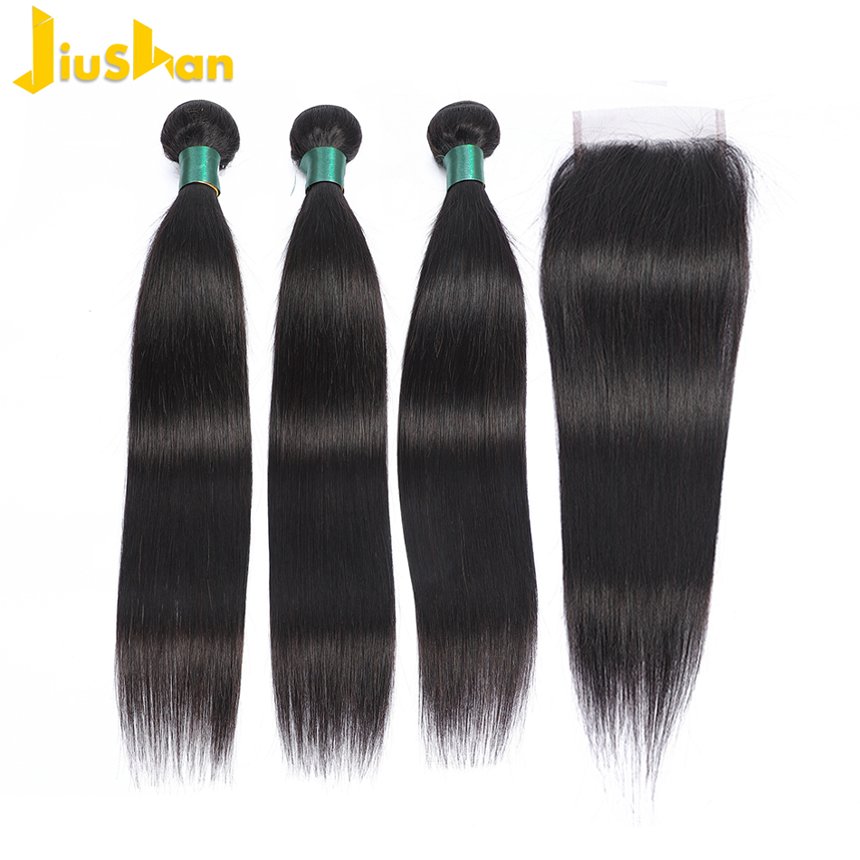 Jiushan Weave Bundles Closure Remy-Hair Brazilian Straight with Non