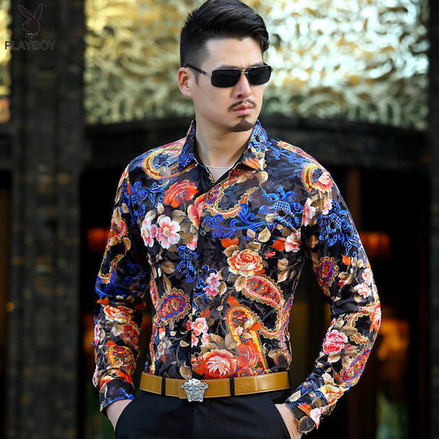 Camiseta Psg 2017 Cashew Flower Floral Print Fancy Shirts Mens See Through Transparent Shirt