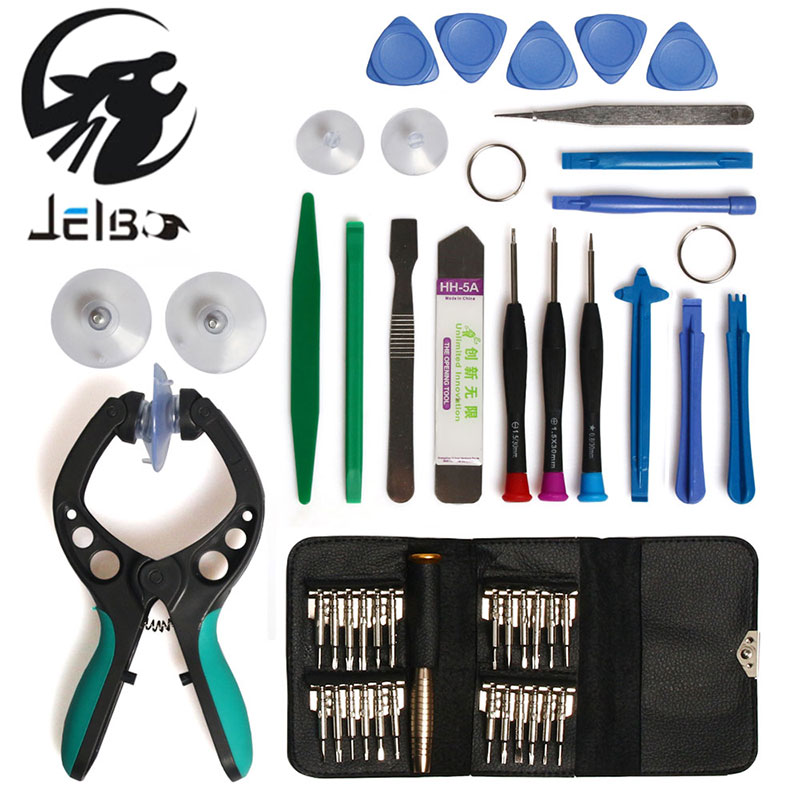 JelBo 45 in 1 Screwdriver Repair Tool Set Mobile Phone Repair ToolLCD Screen Opening Plier Suction Cup for IPhone iPad Samsung