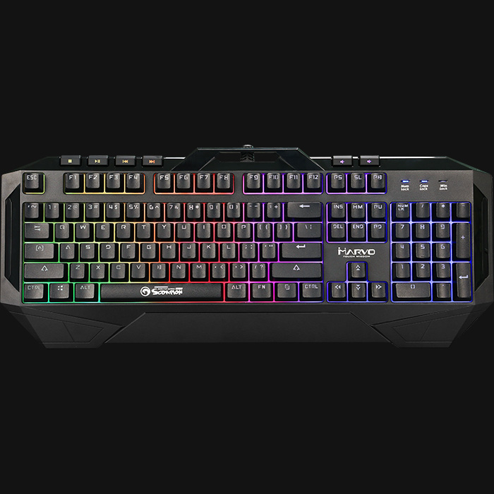 MARVO Gaming Keyboard ,LED Rainbow Backlight  Gaming Keyboard USB Wired Professional Keyboard For Computer /Desktop KG860