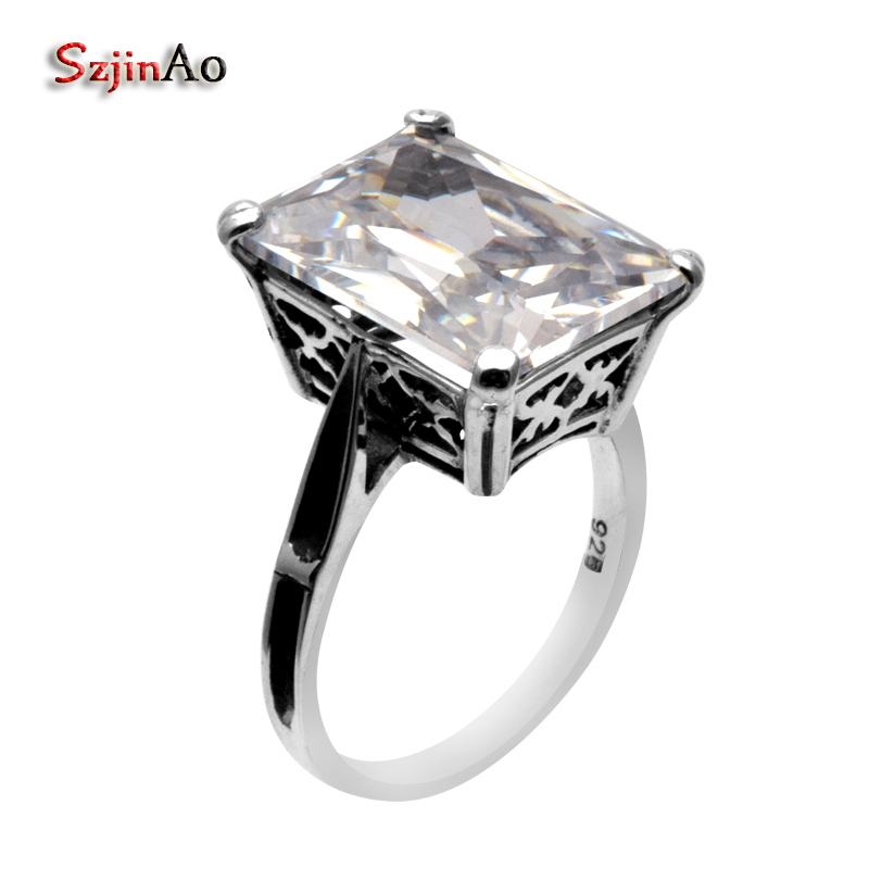 Szjinao 925 Sterling Silver Rings for Women Fashion Jewelry Antique Ring Hollow Carving 925 Sterling Silver Wedding ng