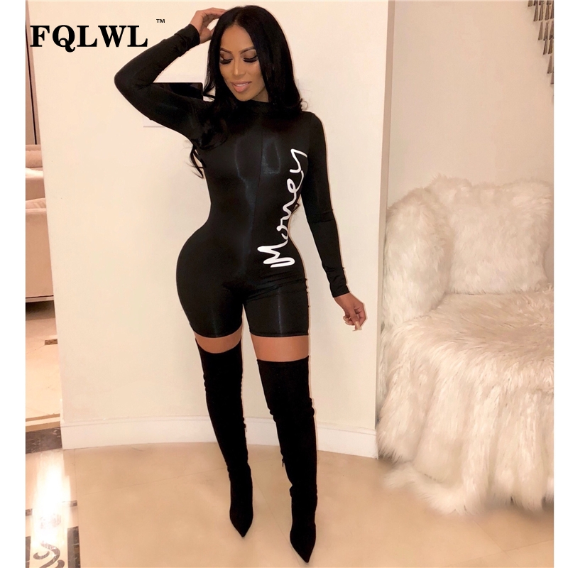 FQLWL Long Sleeve Bodycon Sexy Black Jumpsuit Short Women Playsuit Spring Streetwear Letter Print Rompers Womens Jumpsuit Female