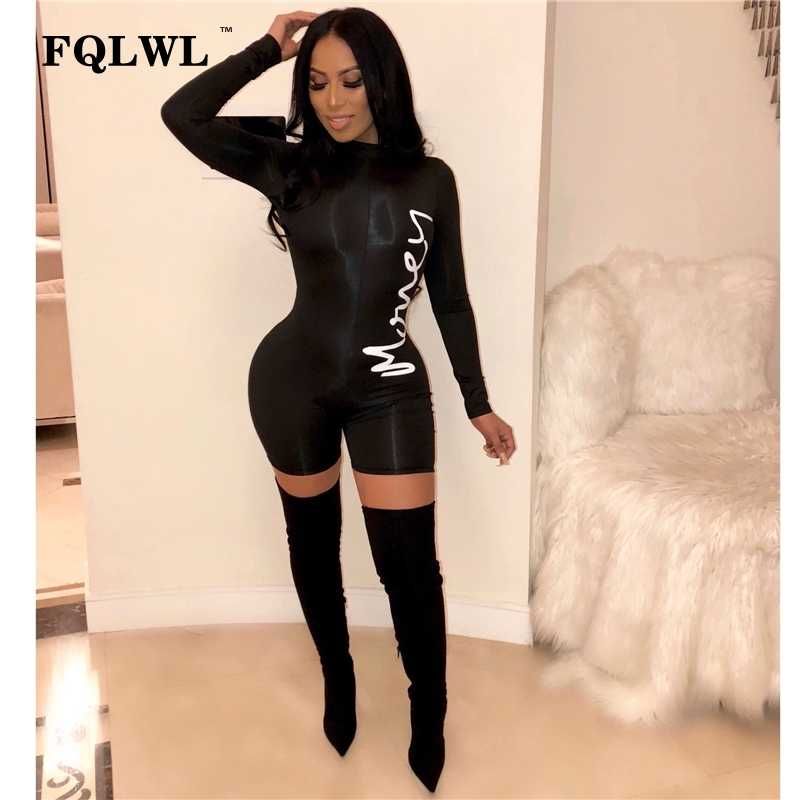 c791b3b42c FQLWL Long Sleeve Bodycon Sexy Black Jumpsuit Short Women Playsuit Spring  Streetwear Letter Print Rompers Womens