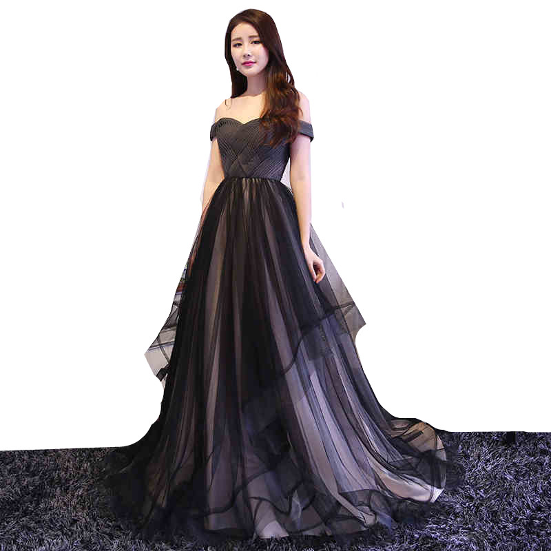 MDBRIDAL Black Evening Dress Ball Gown Off Shoulder Lace up Tulle ...