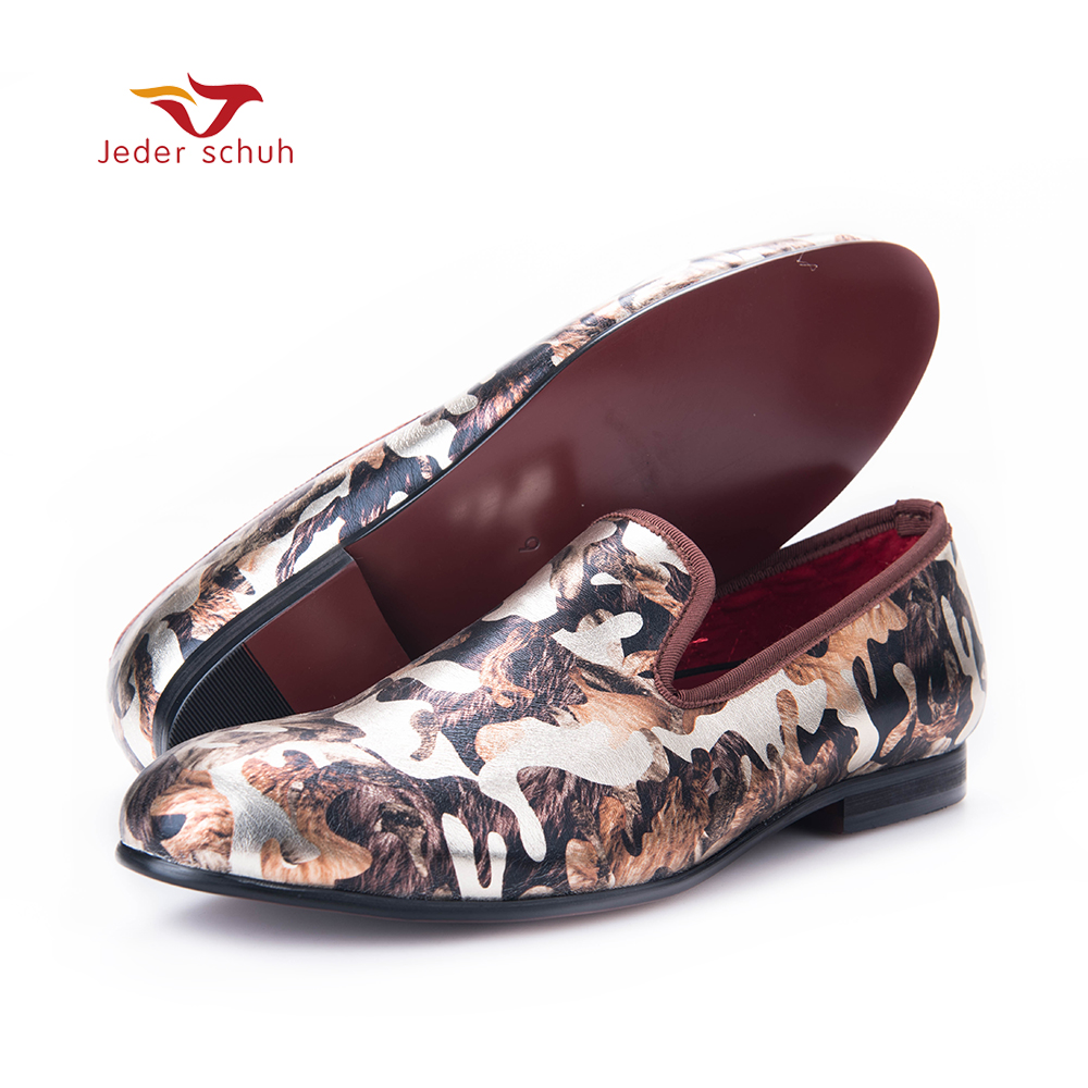 Jeder Schuh New men flats shoes with camouflage printing Luxurious British style men smoking slippers big size male loafers 2016 new fashion men leopard cotton fabric shoes british mens flats smoking slippers men loafers casual shoes plus size 4 17