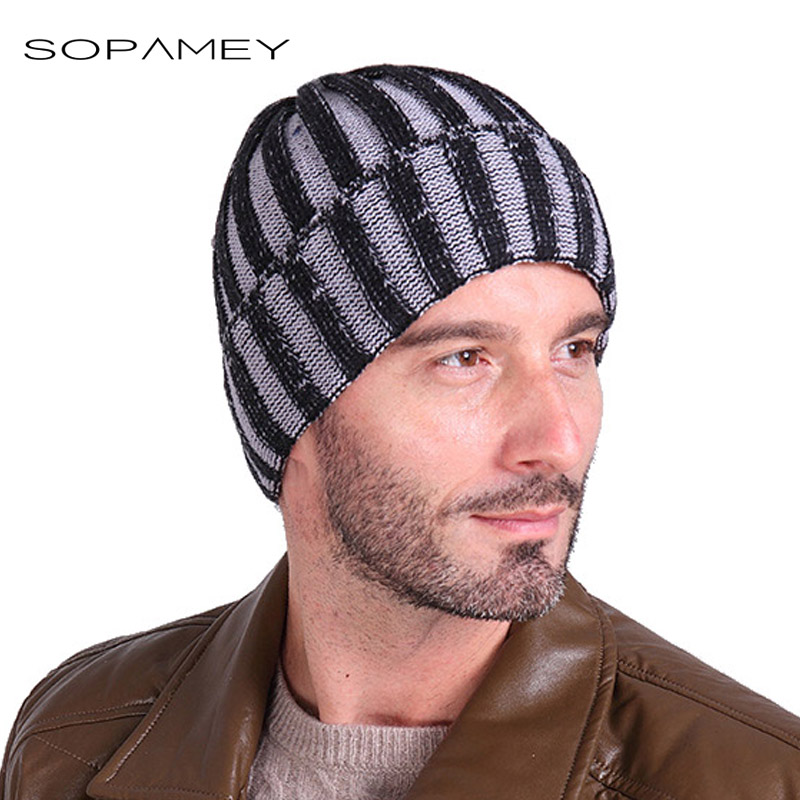 Casual Brand Men Winter Hat Beanie Hats Warm Baggy Knitted Skullies Bonnet Ski Sports Adult Stripes Cap New Arrival Beanies winter women beanie curl all match crochet knitted hiphop hats warm ski hat baggy cap femme en laine homme gorros de lana 62