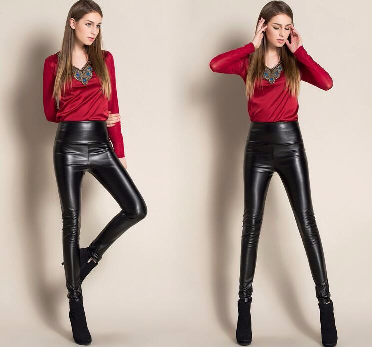 Leggings winter Women High Waist PU Leather Legging Slim Faux Pants Female Fashion Warm Leggings Women 5