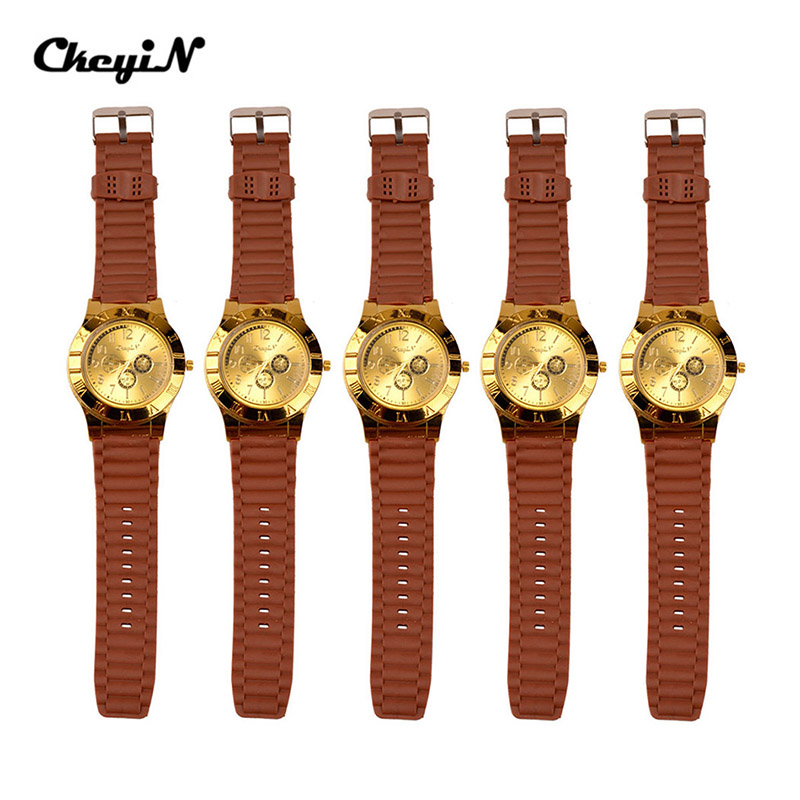 5Pcs/Lot Cigarette Flameless Wristwatches rechargeable USB Ligter Golden Watches Casual Military silicone strap Quartz Watch 50
