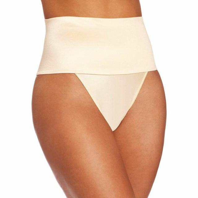 1b45779a284 beige big plus size post-partum women elastic underwear Seamless Middle  Waist Thong Shaper butt tummy Control panties pant E48