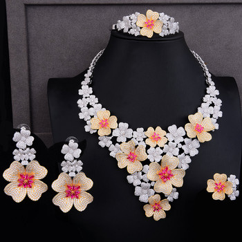 GODKI Luxury Super Big Blossom Flower 4PCS African Jewelry Sets For Women Wedding Zircon CZ Nigeria Dubai Gold jewelry SetS 2019 3