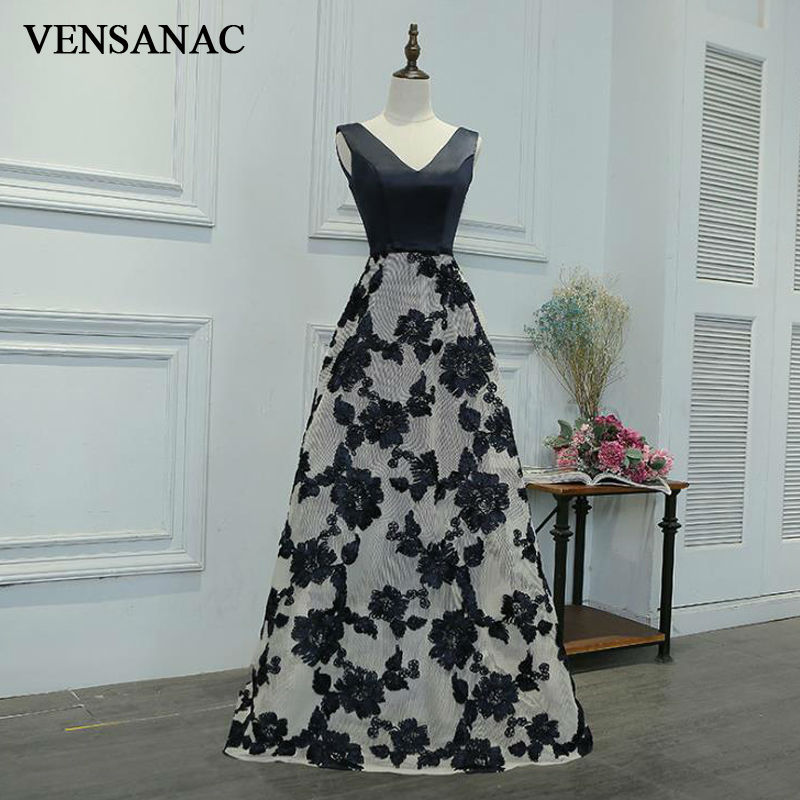 VENSANAC New 2017 Flowers Embroidery V Neck Long Evening Dresses Sleeveless Elegant Lace Draped Party Prom Ball Gowns in Evening Dresses from Weddings Events