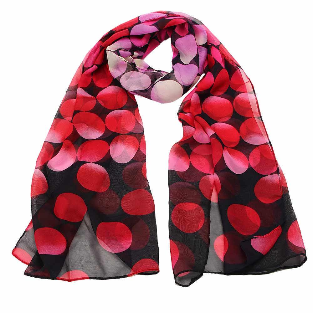 1PC Womail צעיפי כורכת צעיף נשים אופנה ליידי צעיף שיפון נקודה מלבן צעיף צעיפי גזה 2019 # YL5