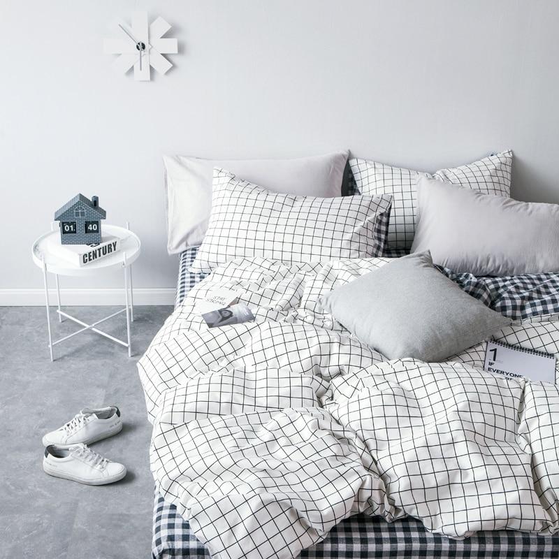 High Grade Cotton Lattice Bedding Sets King Single 2 3PCS White Duvet Cover Set  4PCS Set For Duvet cover Bed Sheet Pillowcase|bedding set king|duvet cover set|bedding set - title=