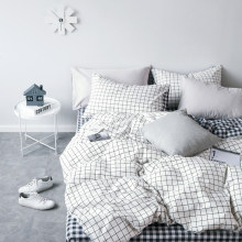 High Grade Cotton Lattice Bedding Sets King Single,2-3PCS White Duvet Cover Set, 4PCS Set For Duvet cover Bed Sheet Pillowcase(China)