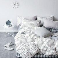 High Grade Cotton Lattice Bedding Sets King Single,2 3PCS White Duvet Cover Set, 4PCS Set For Duvet cover Bed Sheet Pillowcase