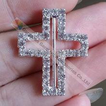 Фотография Free shipping (100pcs/lot) 22x28x22mm NEW Cross wedding invitation czech crystal ribbon rhinestone slide buckle with Sliver Tone