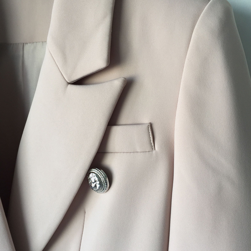 d0e3e1505d3 high quality 2018 Designer Blazer Jacket Women s Silver Lion Buttons beige  plus size Double Breasted Blazer -in Blazers from Women s Clothing on ...
