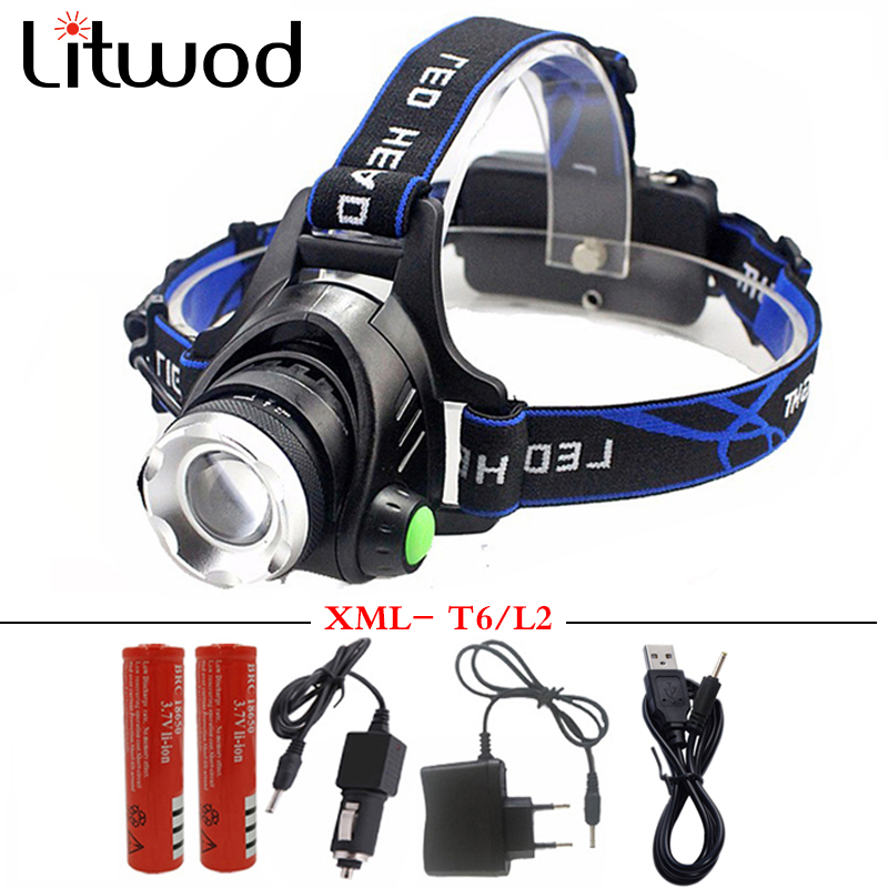 5000 lumens led headlamp xml t6 xm-l2 Headlights Lantern 4 mode waterproof torch head 18650 Rechargeable Battery Newest