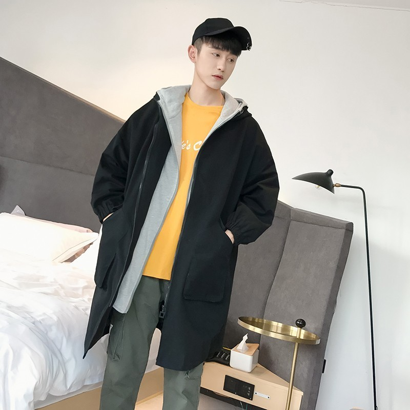 2018 Autumn New Men's Fashion Tide Pure Cotton Double Cap False Two Pieces Windbreaker Loose Casual Solid Color Long Coats M-2XL
