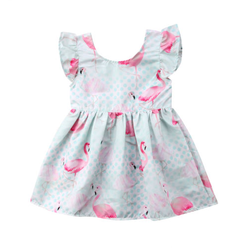 CANIS Lovely Girls Fly Sleeve Dress Summer Clothes Toddler Kids Baby Girl Flamingo Dress Party Pageant Princess Dresses 1-5Y neat brand retail baby girl clothes lovely dresses kids clothes girl party dress long sleeve 100