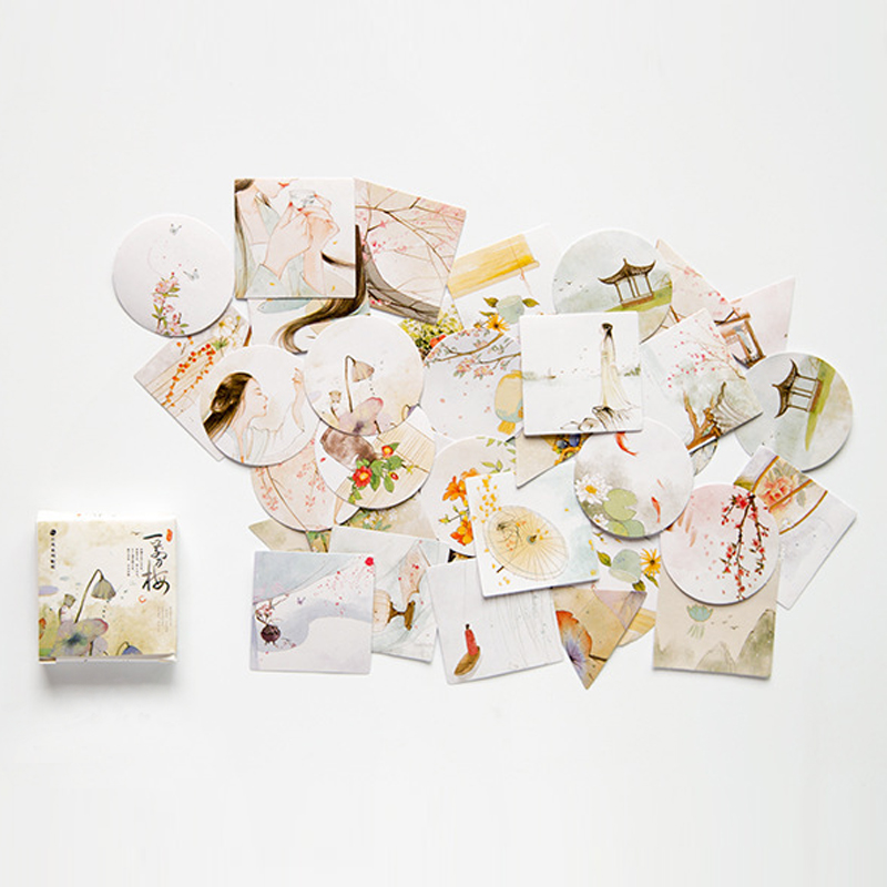 40pcs/pack Cute Plum Flower Mini Decorative Kawaii Cute Stickers Scrapbooking Flakes Bullet Journal Stationary Deco