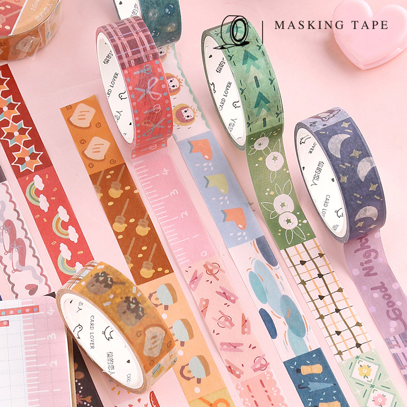 15mm*7m Japanese Masking Washi Tape Kawaii Splicing Pattern Diy Decorative Adhesive Tape Scrapbooking Cute Stationery Supplies