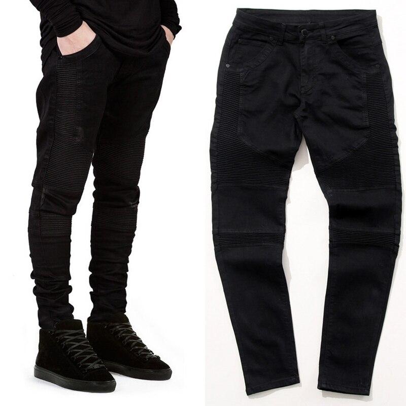 2015 Hi Street Mens Biker Jeans Motorcycle Slim Fit Washed Black Moto Denim Pants Joggers For