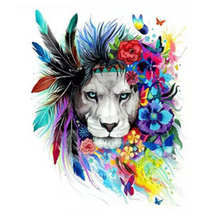 Decorative Canvas Painting By Numbers Animal,Diy Oil Colorful Lion