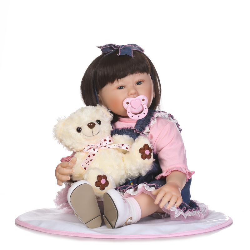 55CM Ethnic Asian Skin Face Reborn Baby Dolls 22 Lifelike Baby Alive Girl Dolls in Jeans Dress Birthday Xmas Gifts for Children bigbang 2012 bigbang live concert alive tour in seoul release date 2013 01 10 kpop