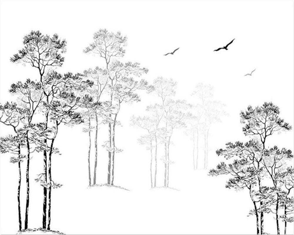 Wallpaper kustom rumah dekoratif lukisan dinding hitam putih sketsa abstrak pohon burung terbang tv latar belakang dinding 3d wallpaper beibehang di