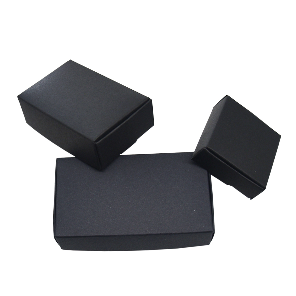 50 Pieces Black Kraft Paper Christmas Gift Packaging Boxes Cardboard Packing Box For DIY Craft Jewelry Handmade Soap Package Box