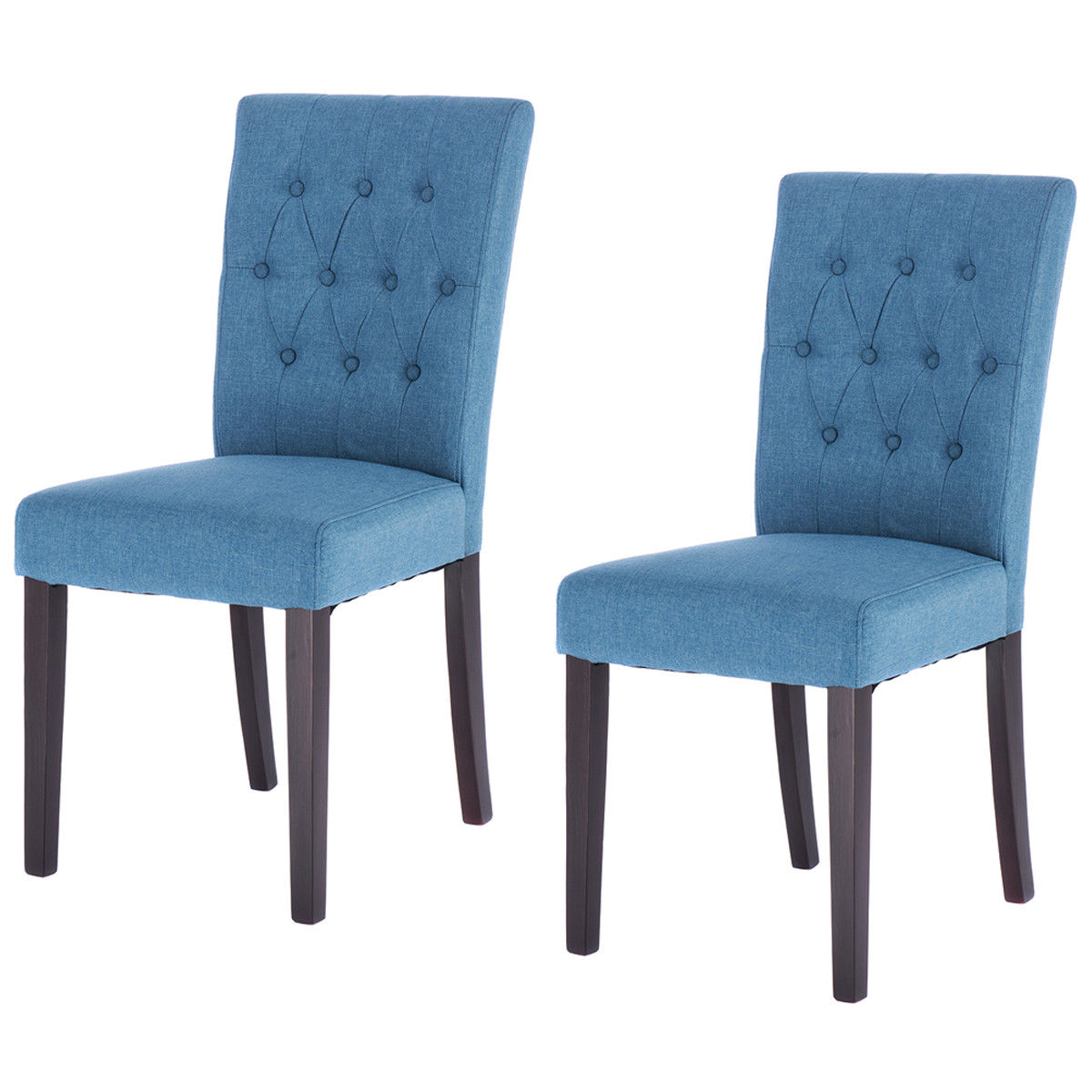 все цены на Giantex Set of 2pcs Modern Fabric Dining Chair Armless Accent Tufted Upholstered with Solid Wood Legs Home Furniture HW52778BL онлайн