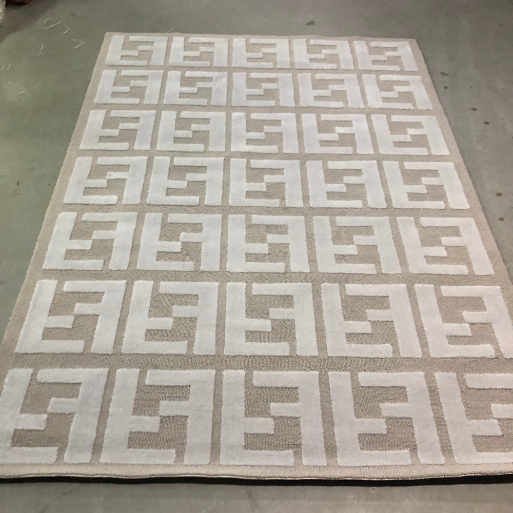 High Quality Fashion Double FF Logo Silver Grey Arcylic Carpet Rug, 3D High And Short Hair Prominent FF Effect Carpet