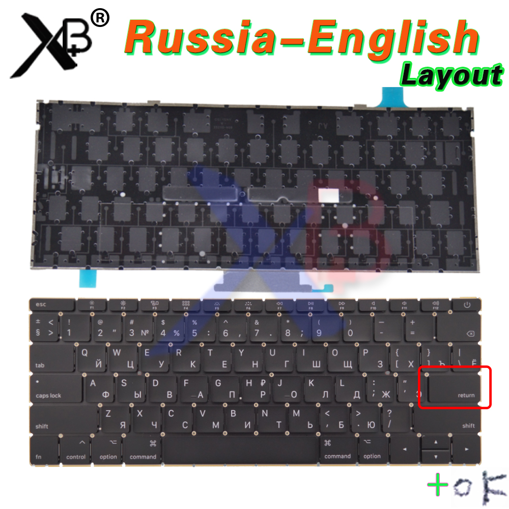 Laptop A1534 Small Enter RS Russian keyboard Backlight Backlit +Screws for Macbook 12