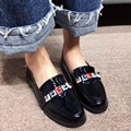 2017 New Arrival Round Toe Low Heel Shoes Patent Leather Colorful British Style Black Brown Casual Flat Shoes