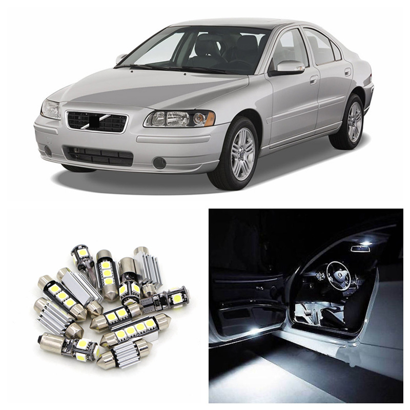 19pcs No Error White Canbus Car LED Light Bulbs Interior Package Kit For 2000-2009 Volvo S60 Sedan Map Dome Trunk Glove Box Lamp