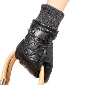 Image 4 - Женские кожаные перчатки L155NY, бархатные перчатки из натуральной овчины без пальцев на осень и зиму