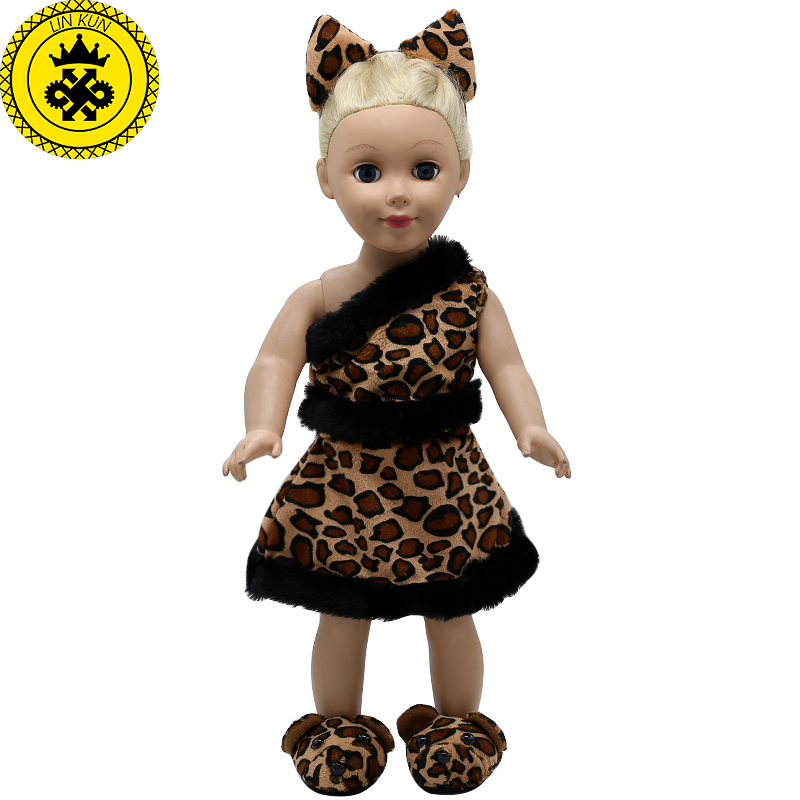 American Girl Doll Clothes Ears and Tail Tiger Leopard Sets Doll Clothes With Shoes Free for 16-18 inch Dolls 3 Colors MG-262 [mmmaww] christmas costume clothes for 18 45cm american girl doll santa sets with hat for alexander doll baby girl gift toy