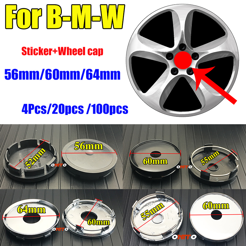 Car-styling Car Wheel Center Cap Wheel Hub Cap Covers 56MM 2 2inch 60MM 2 36inch 64MM Aluminum ABS PVC For E60 E90 F10 F30 F15 E63 E64