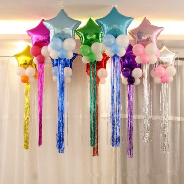 party balloon decoration set star foil ballon 8pcs latex balloons 1pc tassel wedding birthday