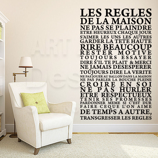 Art New Design House Decor Cheap Vinyl French Rules Words Wall Decals  Colorful Home Decoration PVC