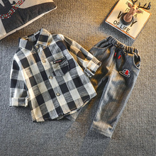 DIIMUU Spring Autumn Fashion Kids Boys Clothing Casual Outfits Long Sleeve Plaid Cotton Shirts Pants Sets Toddler Baby Clothes