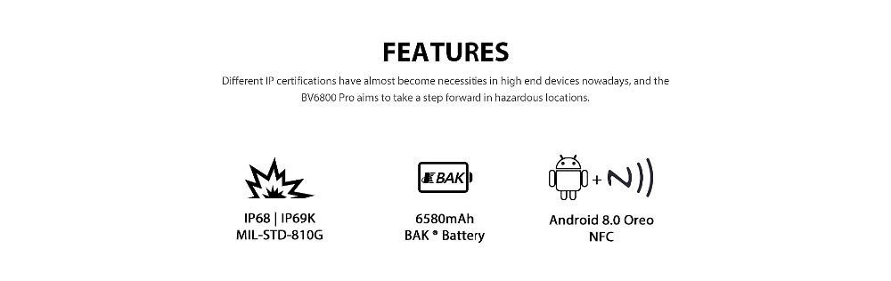 """HTB1wzkhKXuWBuNjSszbq6AS7FXah Blackview BV6800 Pro Android 8.0 Outdoor Mobile Phone 5.7"""" MT6750T Octa Core 4GB+64GB 6580mAh Waterproof NFC Rugged Smartphone"""