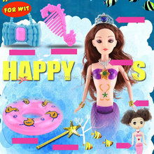 Big Set Mermaid Dolls with Accessories, Princess Mermaids Tail Change Color in Water, Color-Changable Toys, Girl Beautiful Gift