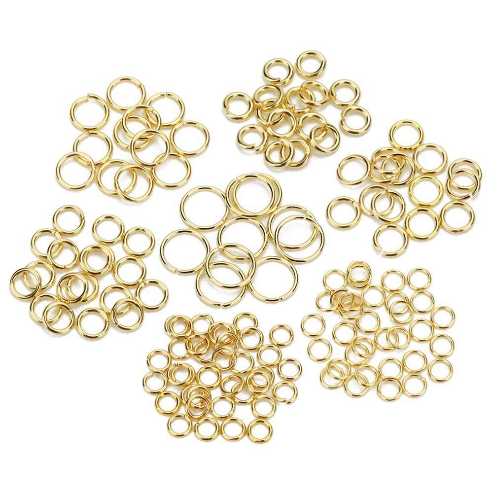 SAUVOO 1 حزمة الفولاذ المقاوم للصدأ فتح الانتقال الدائري الذهب الفضة مزدوجة حلقة سبليت حلقة موصل ل عقد دي اي واي مجوهرات المورد
